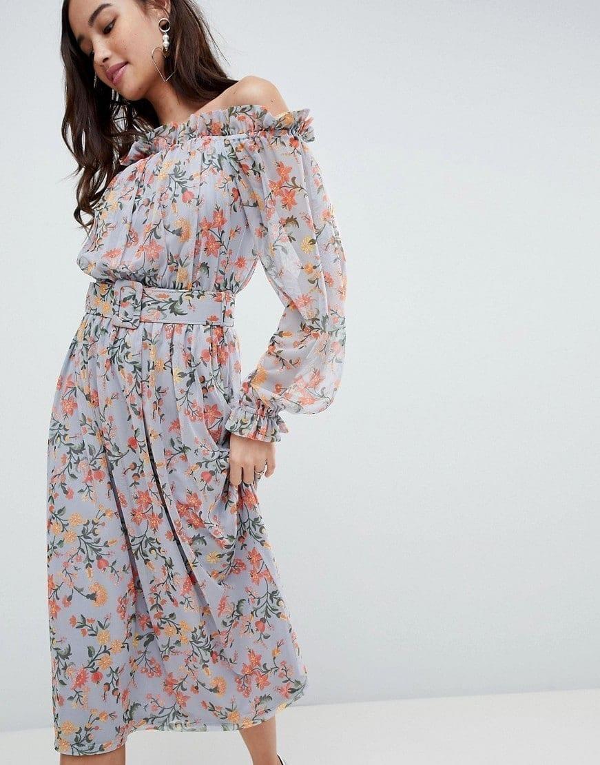 ASOS Bardot Printed Self Belt Mesh Midi Floral Printed Dress