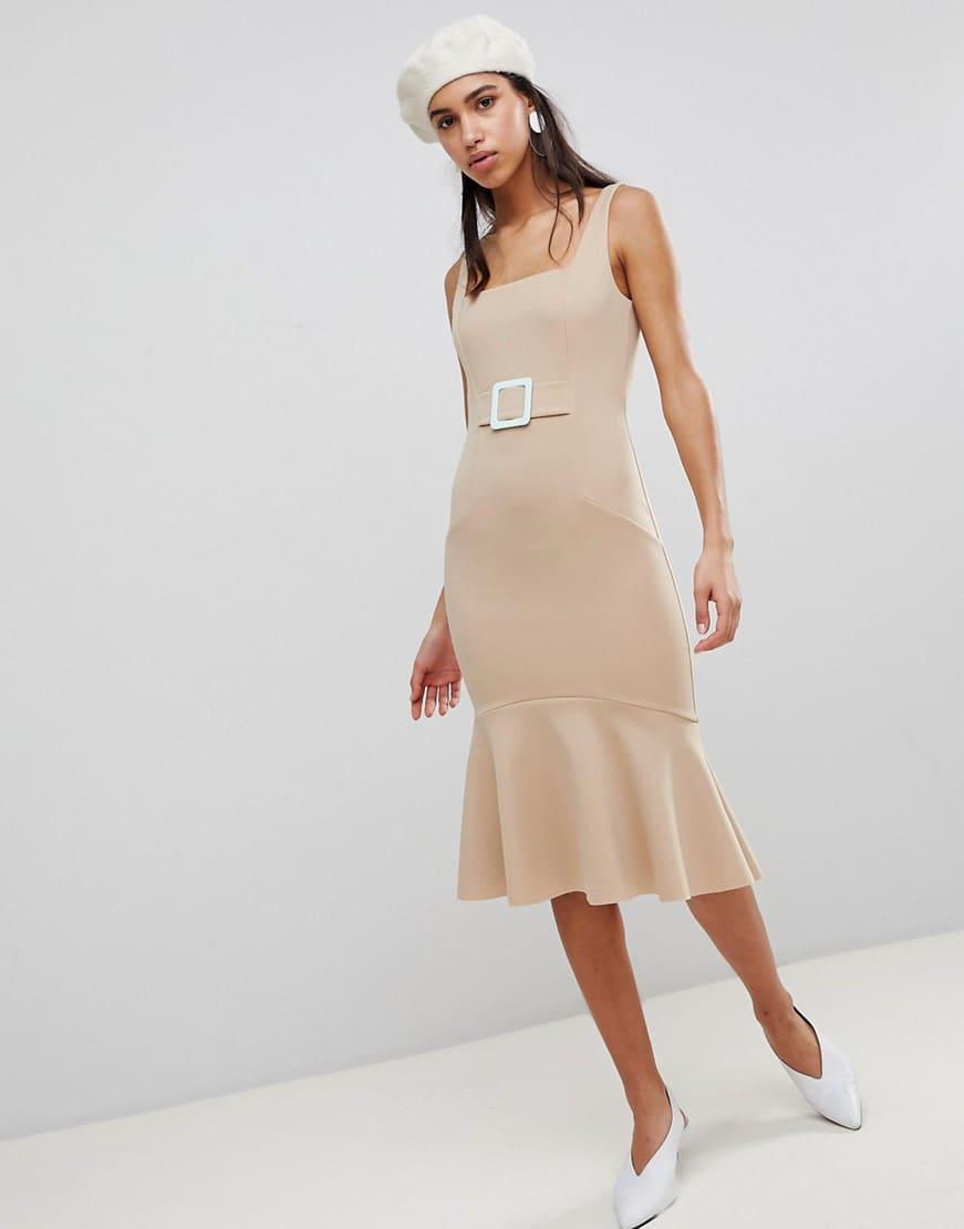 Asos Contrast Buckle Pencil Beige Dress We Select Dresses