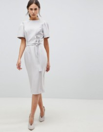 ASOS DESIGN Belt With Midi Pencil Grey Dress