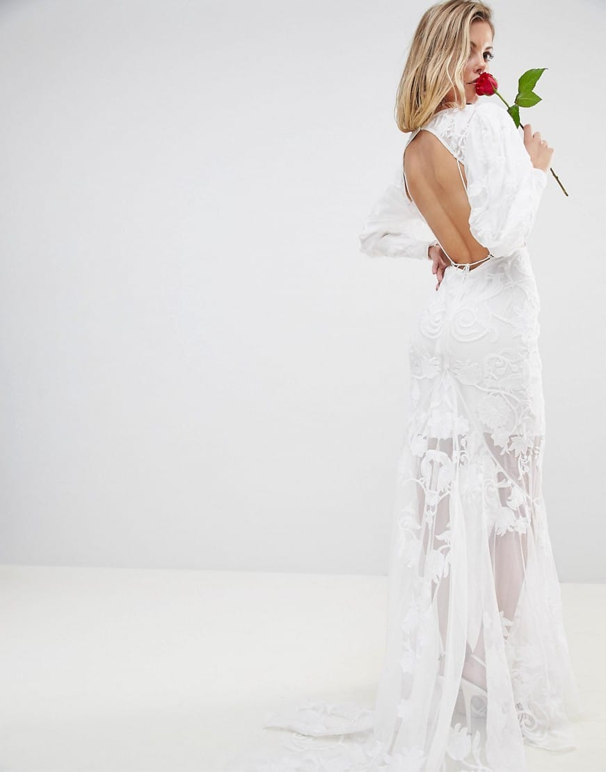 ASOS EDITION BRIDAL Mesh with Beautiful Embroidery Backless Maxi ...