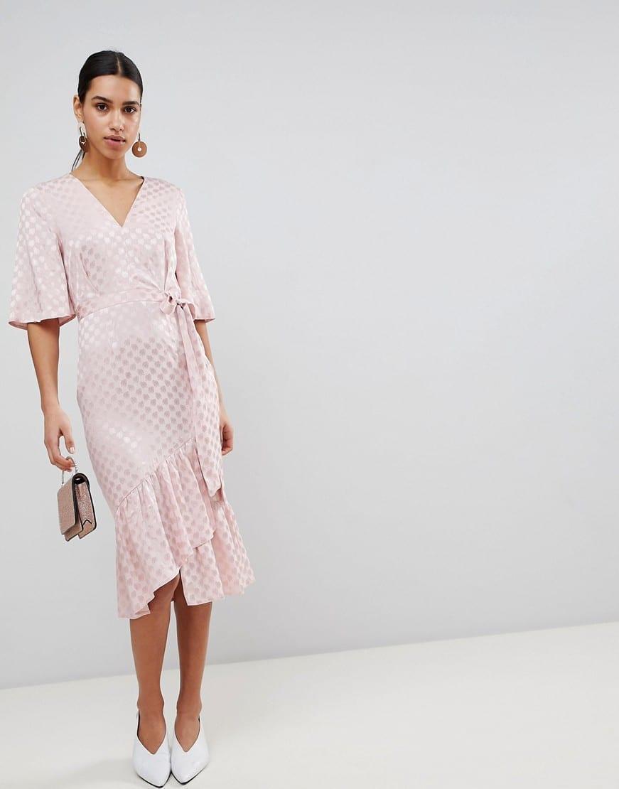 77ff6c6b5ae ASOS Jacquard Kimono Sleeve Wrap Midi Pink Dress - We Select Dresses