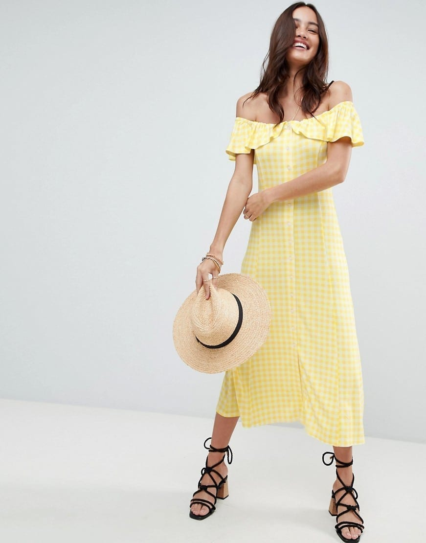 469091ecde1 ASOS Off Shoulder Button Through Midi Gingham Yellow Sundress - We ...