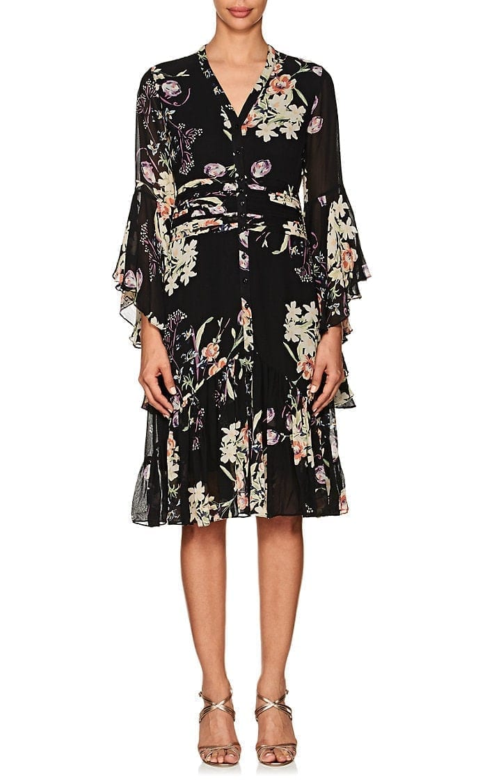 BYTIMO Floral Crepe Bell Sleeve Black / Multicolored Dress