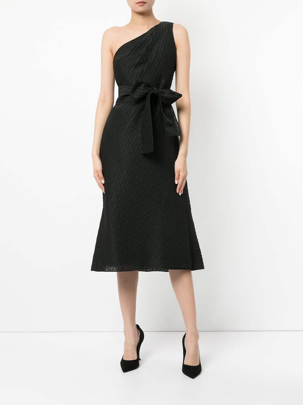 CAROLINA HERRERA Asymmetric Tweed Column Black Dress - We Select Dresses