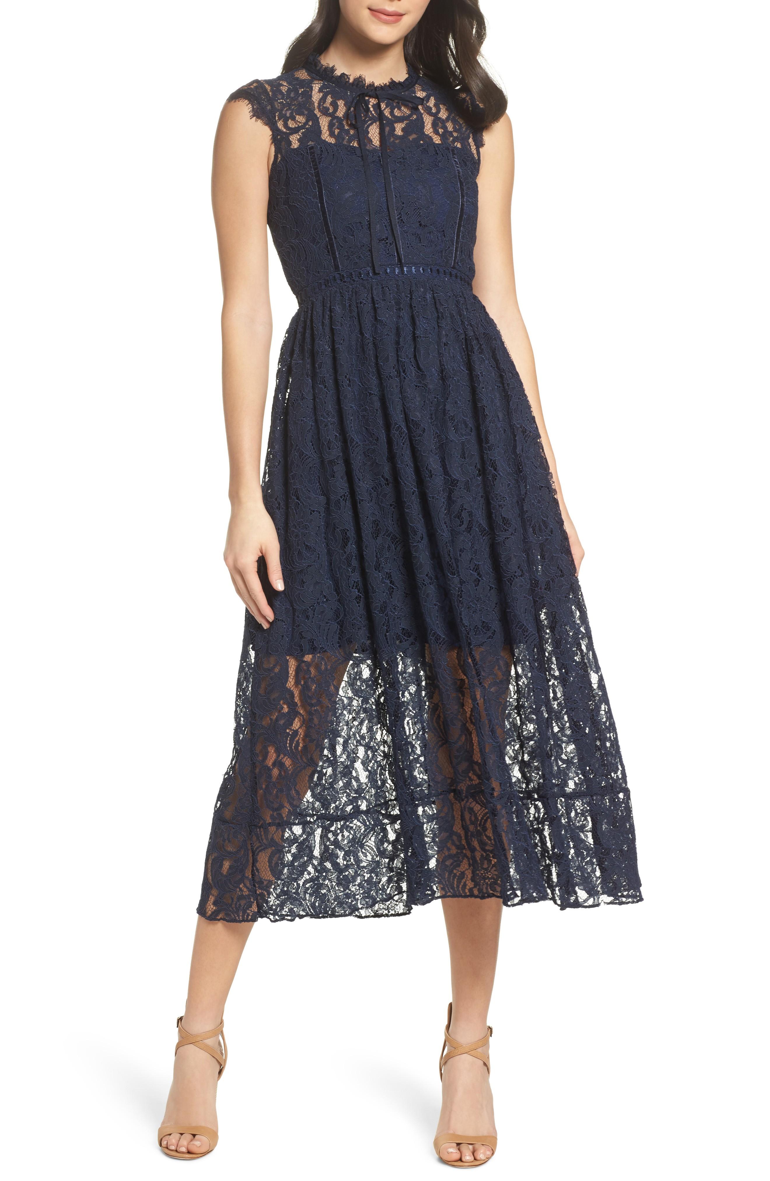 e1f8586991 CHELSEA28 Lace Midi Navy Blue Dress - We Select Dresses