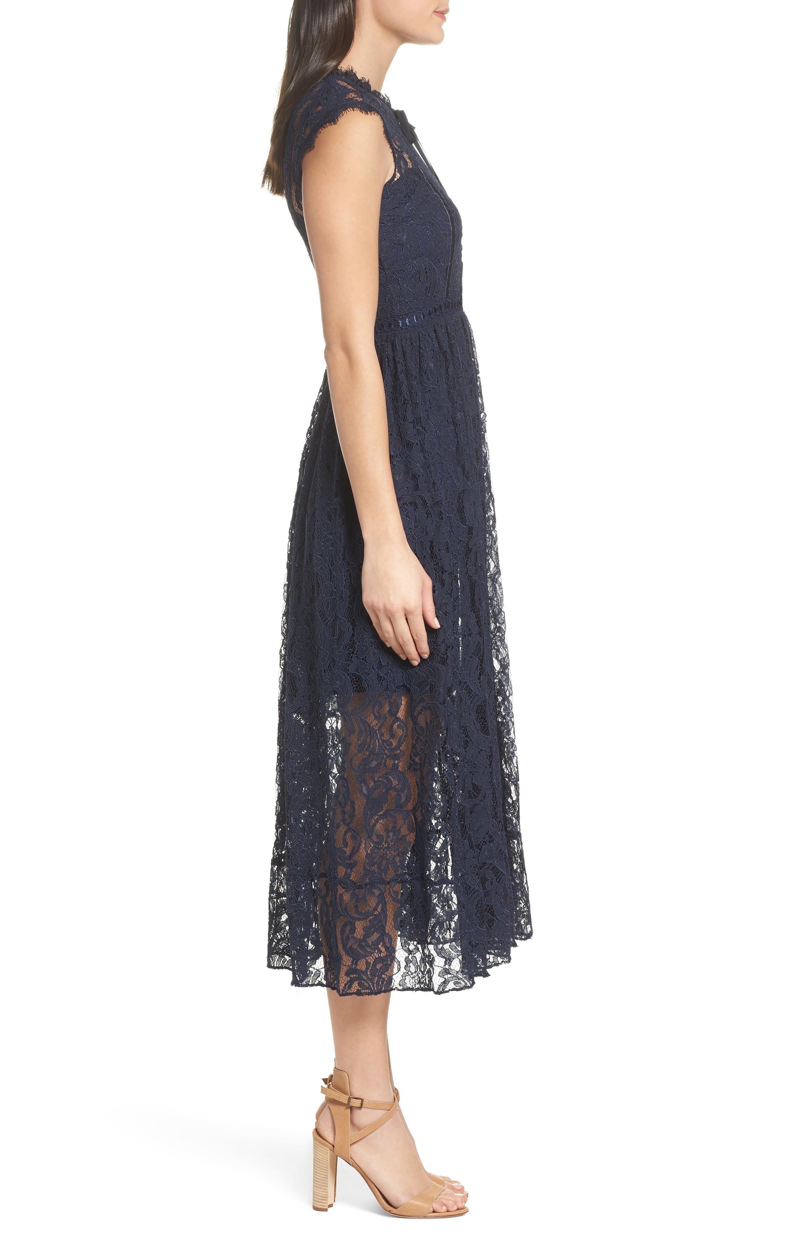 Chelsea28 Lace Midi Navy Dress