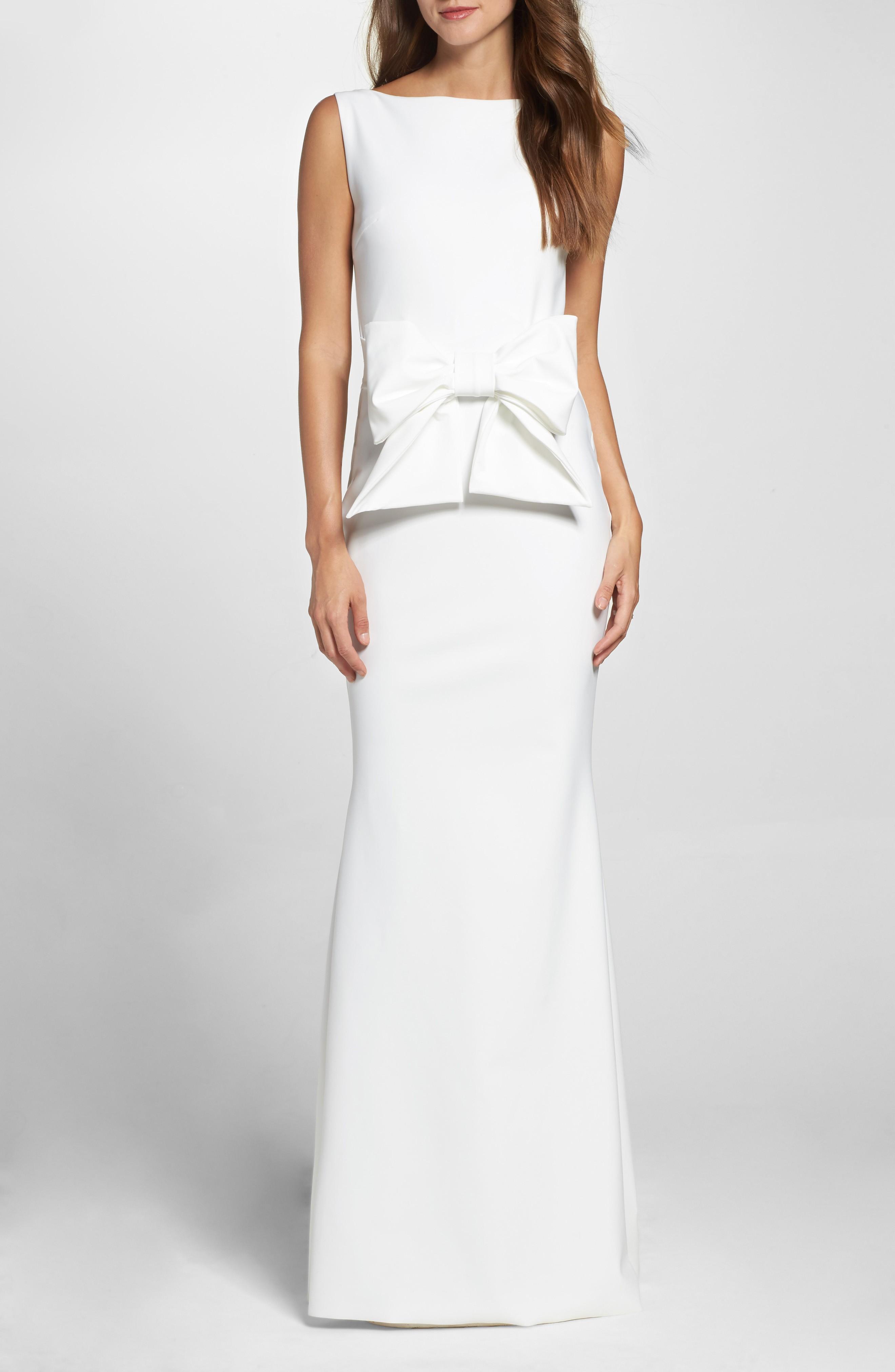 CHIARA BONI LA PETITE ROBE Bow Detail Sleeveless White Gown