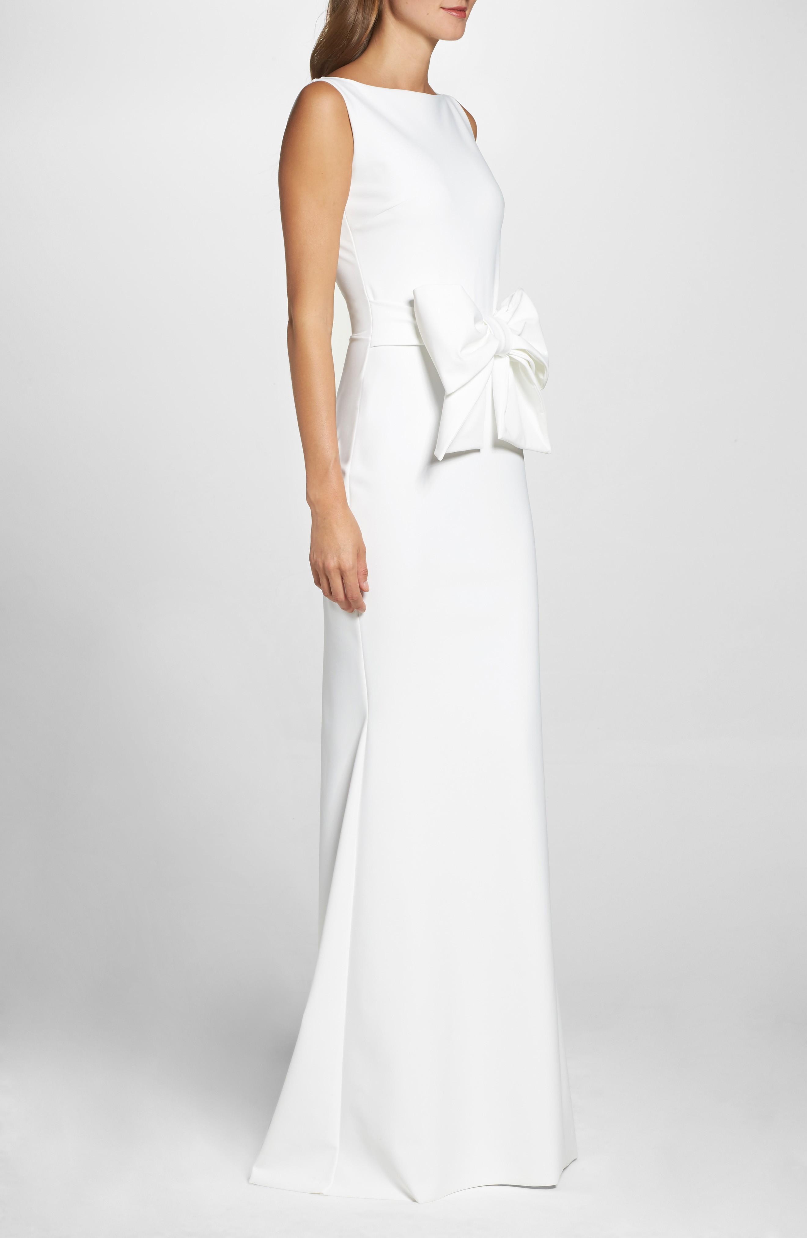 chiara boni la petite robe bow detail sleeveless white gown we select dresses. Black Bedroom Furniture Sets. Home Design Ideas