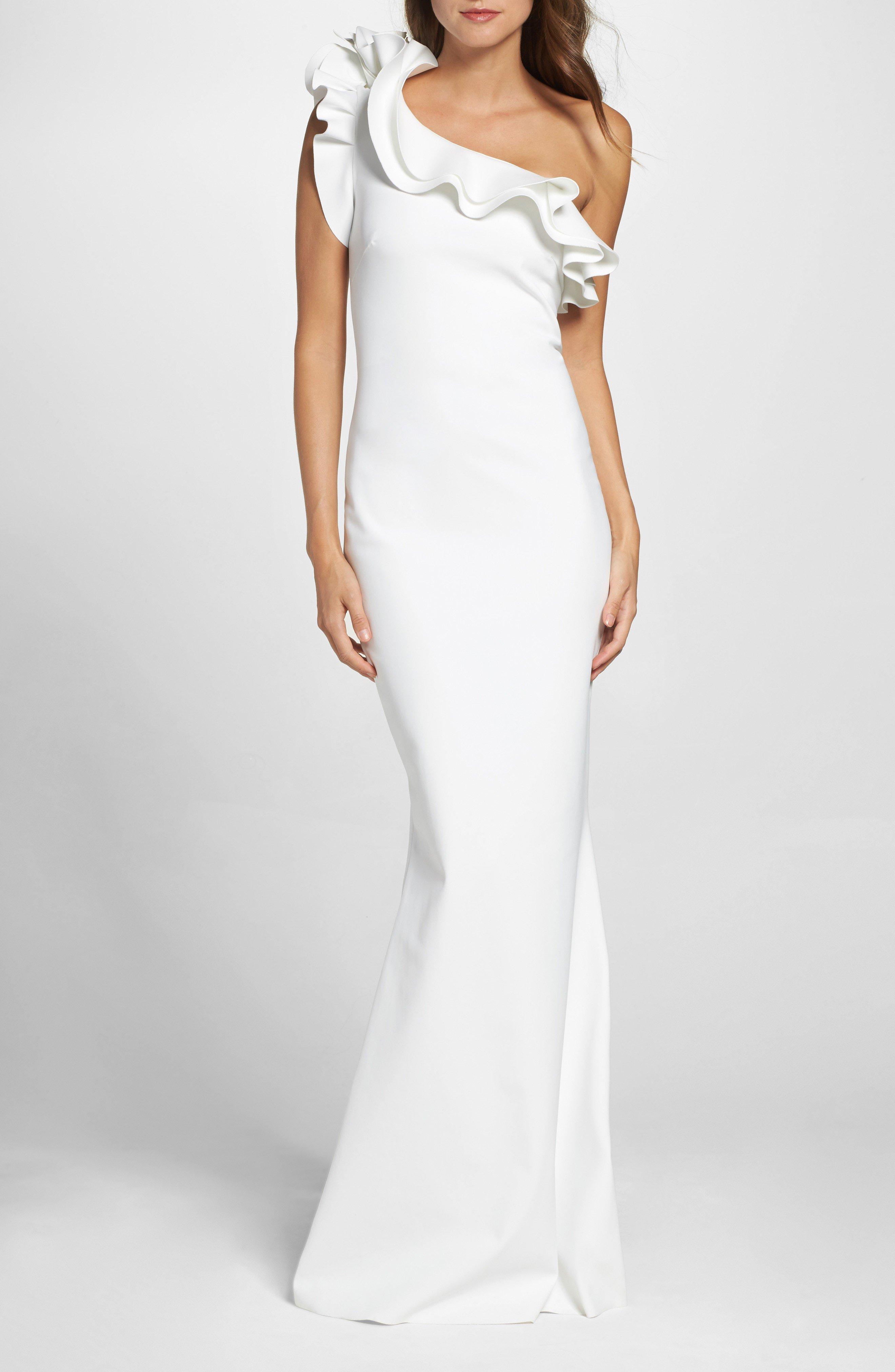 CHIARA BONI LA PETITE ROBE Elisir Ruffle One-Shoulder White Gown