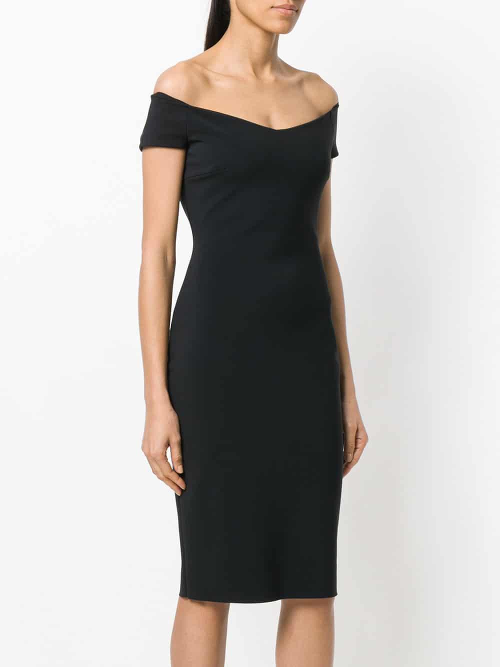 9d80f33a9cf4 CHIARA BONI LA PETITE ROBE Off Shoulder Fitted Black Dress - We ...