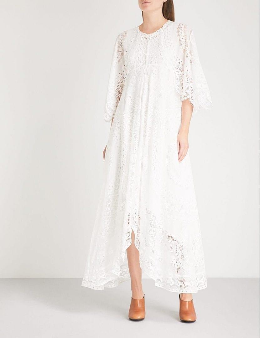 6a26d3cd98 CHLOE Kimono-sleeve Lace Midi Iconic Milk Dress - We Select Dresses