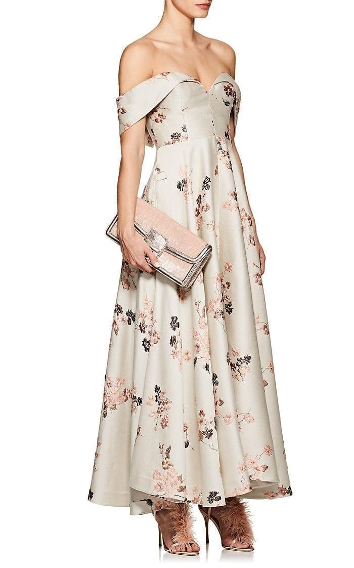 CO Floral-Jacquard Off-The-Shoulder Beige Gown - We Select Dresses