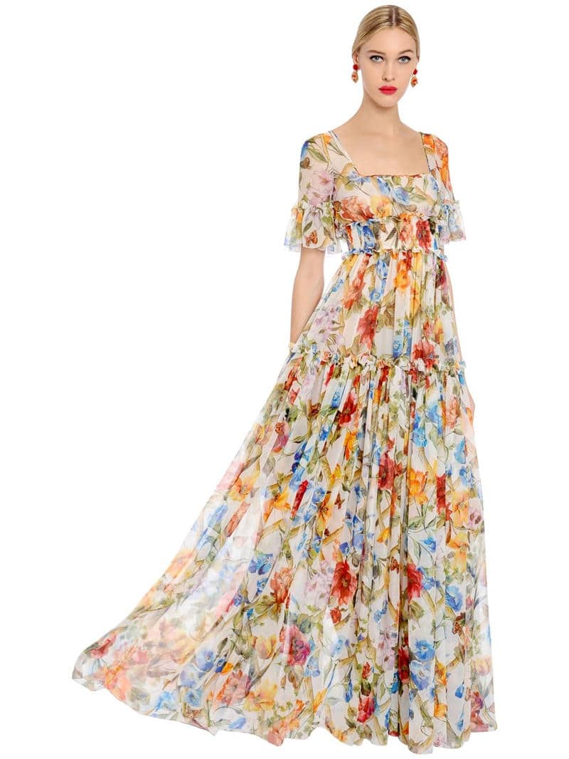 Dolce Gabbana Bamboo Silk Chiffon Multi Fl Printed Dress