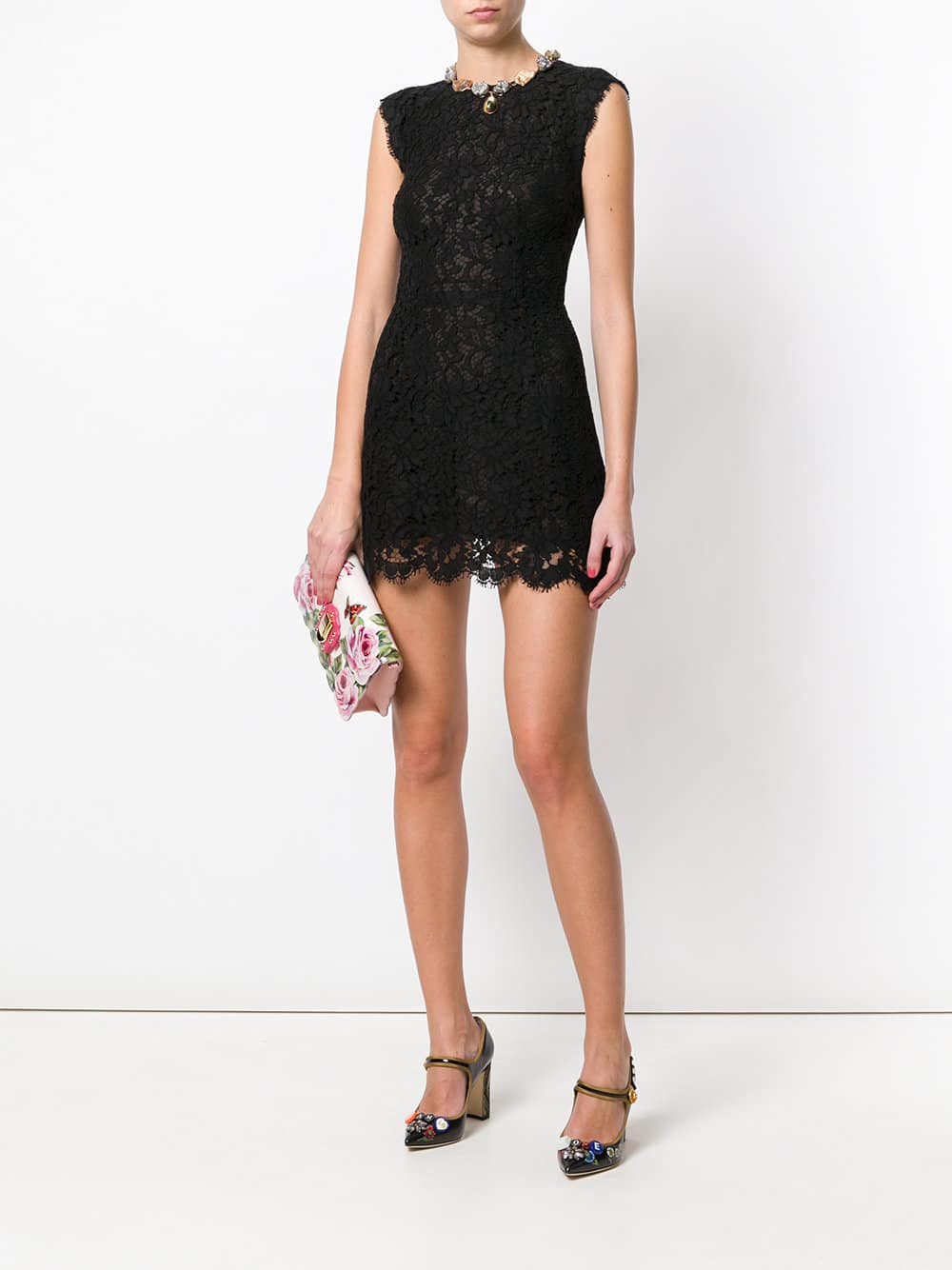 15b0f04f81 DOLCE   GABBANA Floral Lace Black Dress - We Select Dresses