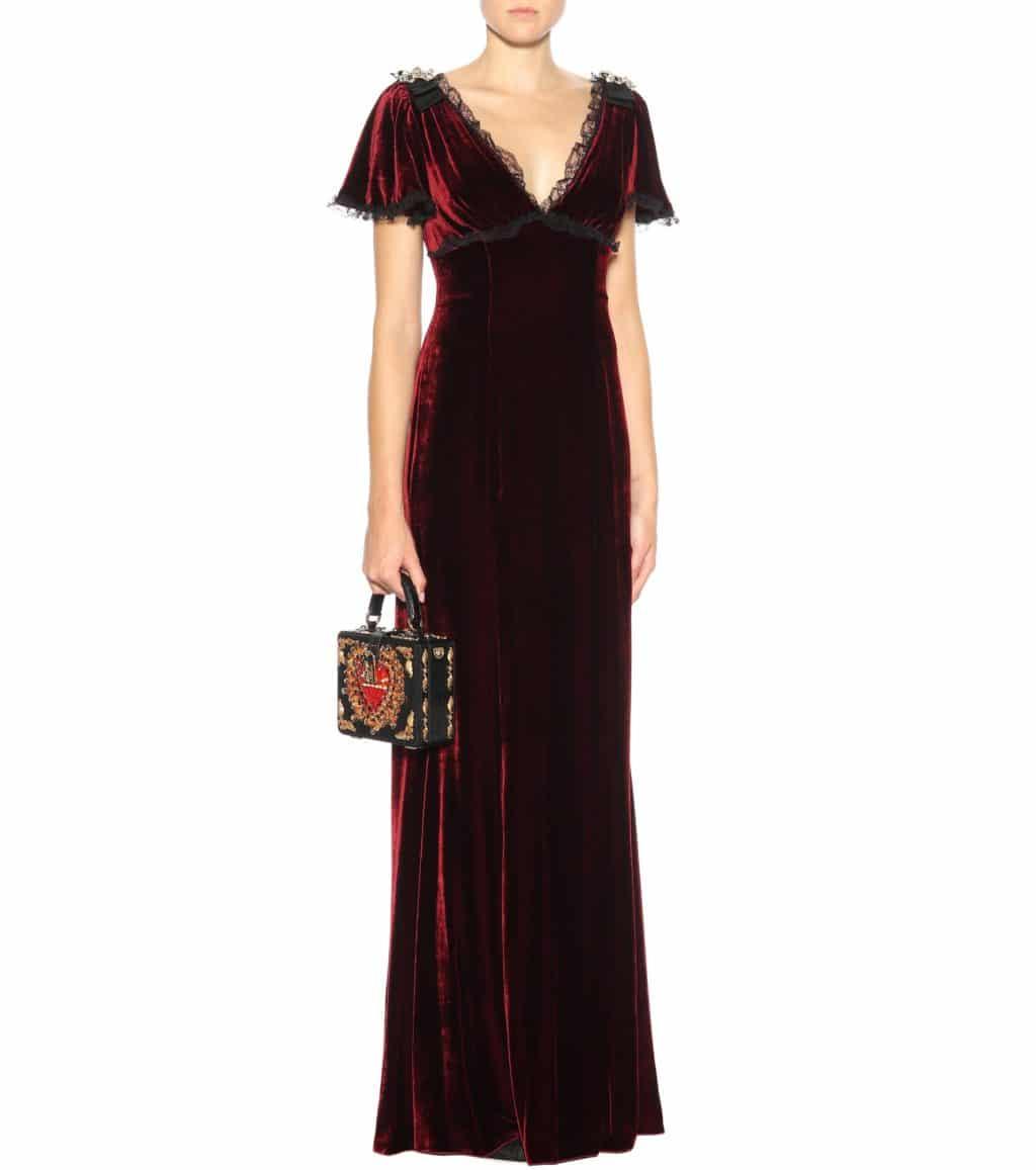 DOLCE & GABBANA Lace-trimmed Velvet Burgundy Gown - We Select Dresses
