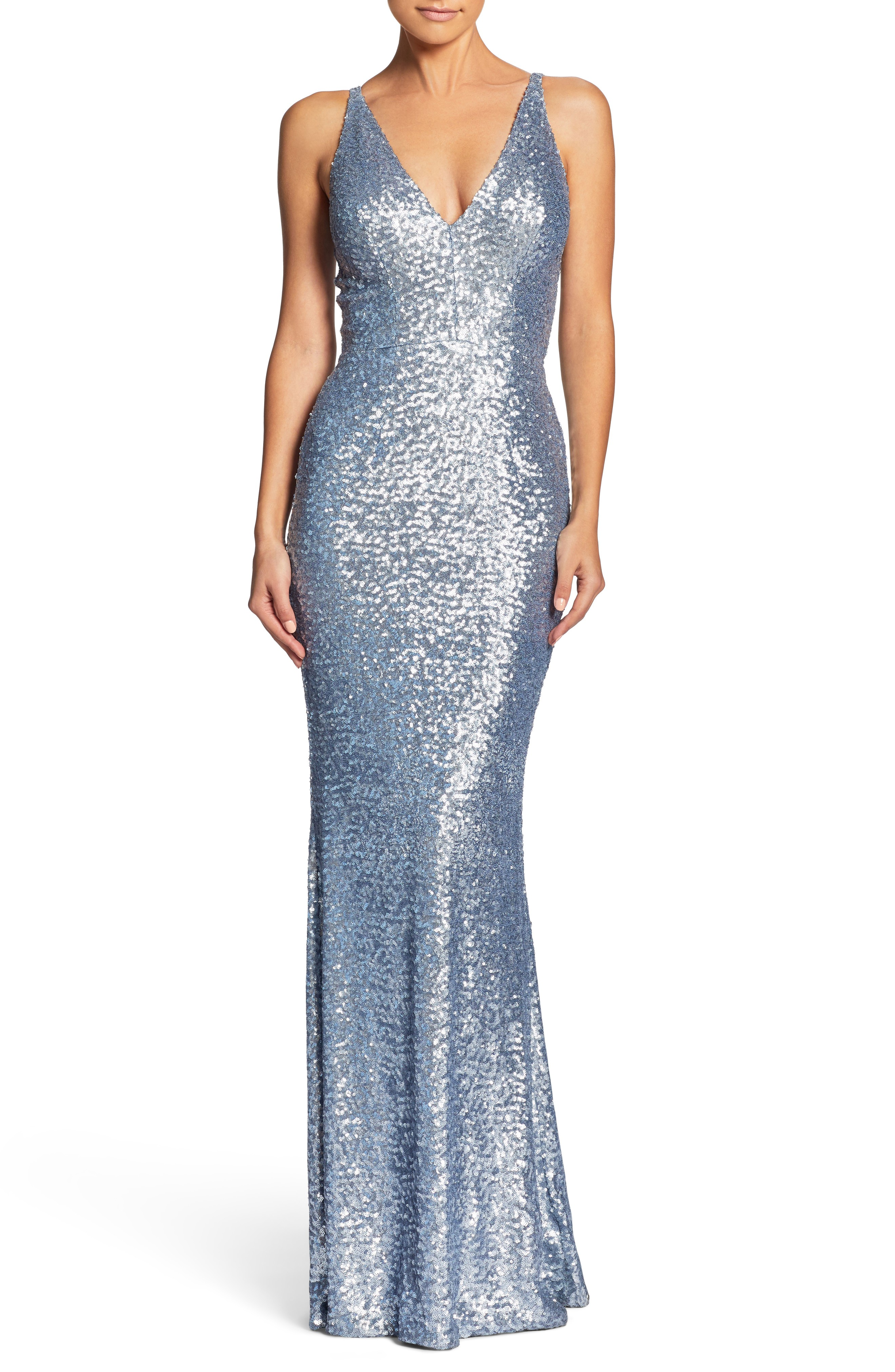 DRESS THE POPULATION Harper Mermaid Ice Blue Gown