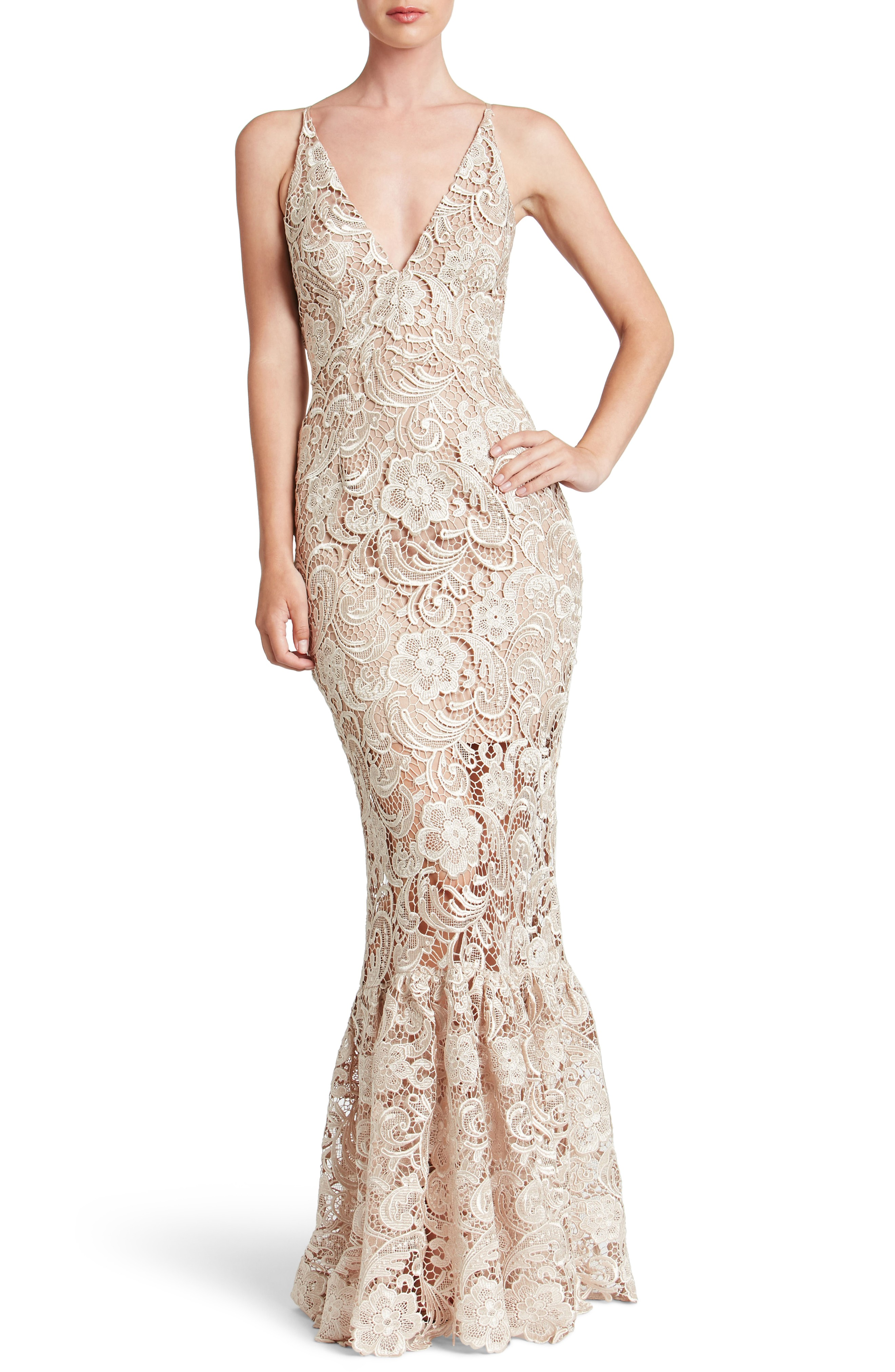 DRESS THE POPULATION Sophia Crochet Lace Mermaid Nude Gown