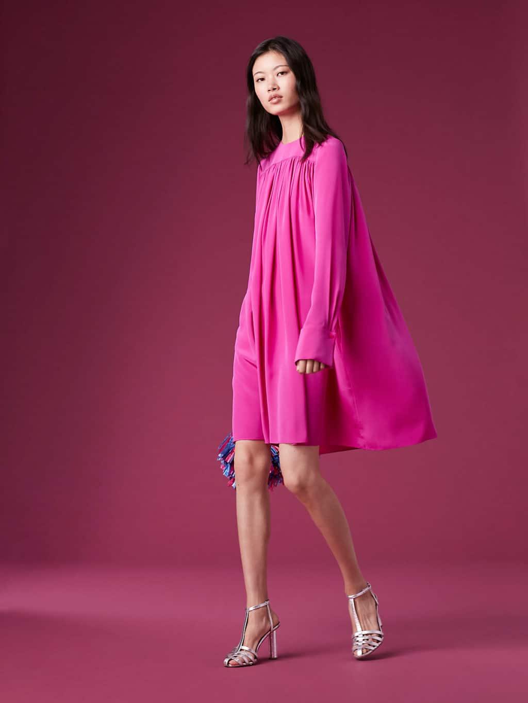 DVF Long-Sleeve Crew Neck Tent Pink Dress - We Select Dresses