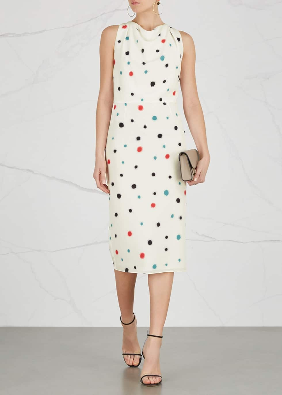 EMPORIO ARMANI Mulberry Silk Cream / Printed Dress