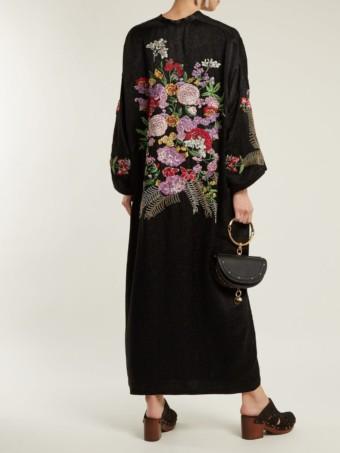 ETRO Fuji Floral Embroidered Satin Kimono Black Dress