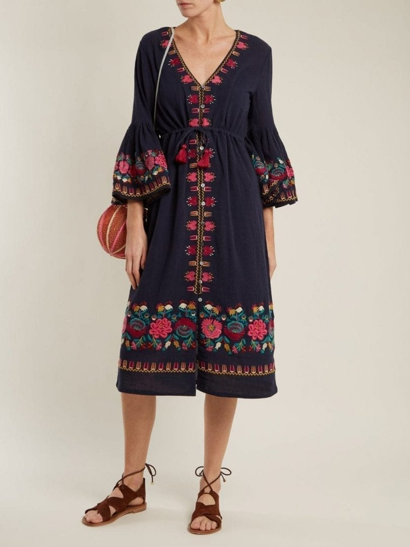 FIGUE Junie Floral Embroidered Navy Dress