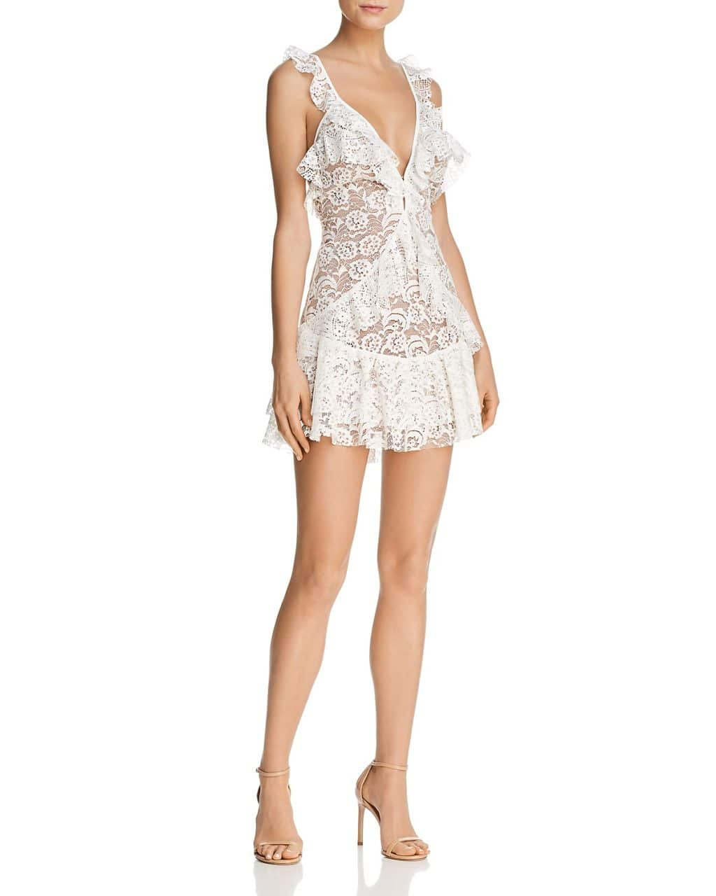 For Love Lemons Tati Ruffled Lace White Dress We Select Dresses