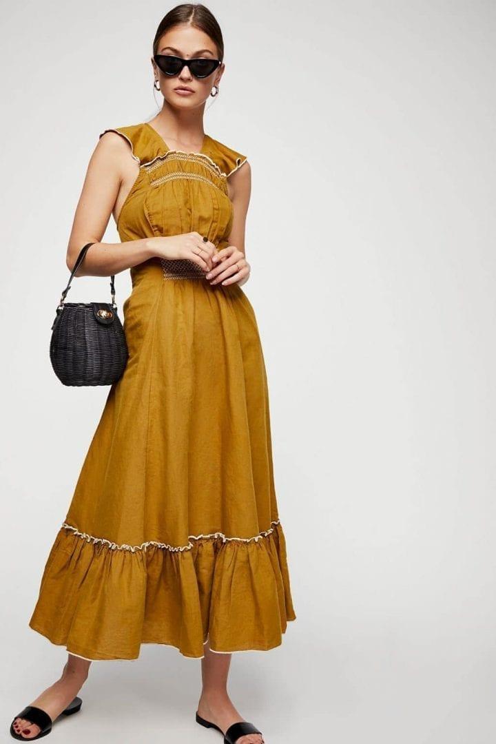 FREE PEOPLE Anika Midi Olive Dress