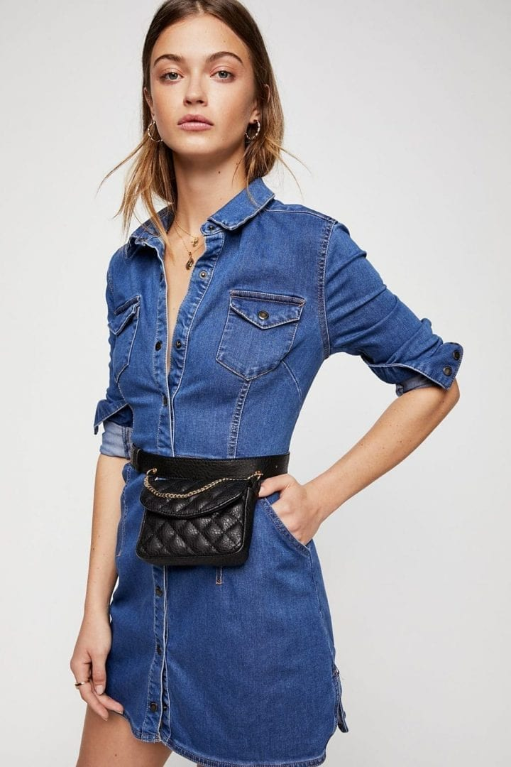 36a7ee1138 FREE PEOPLE Dynomite Denim Mini Blue Dress - We Select Dresses