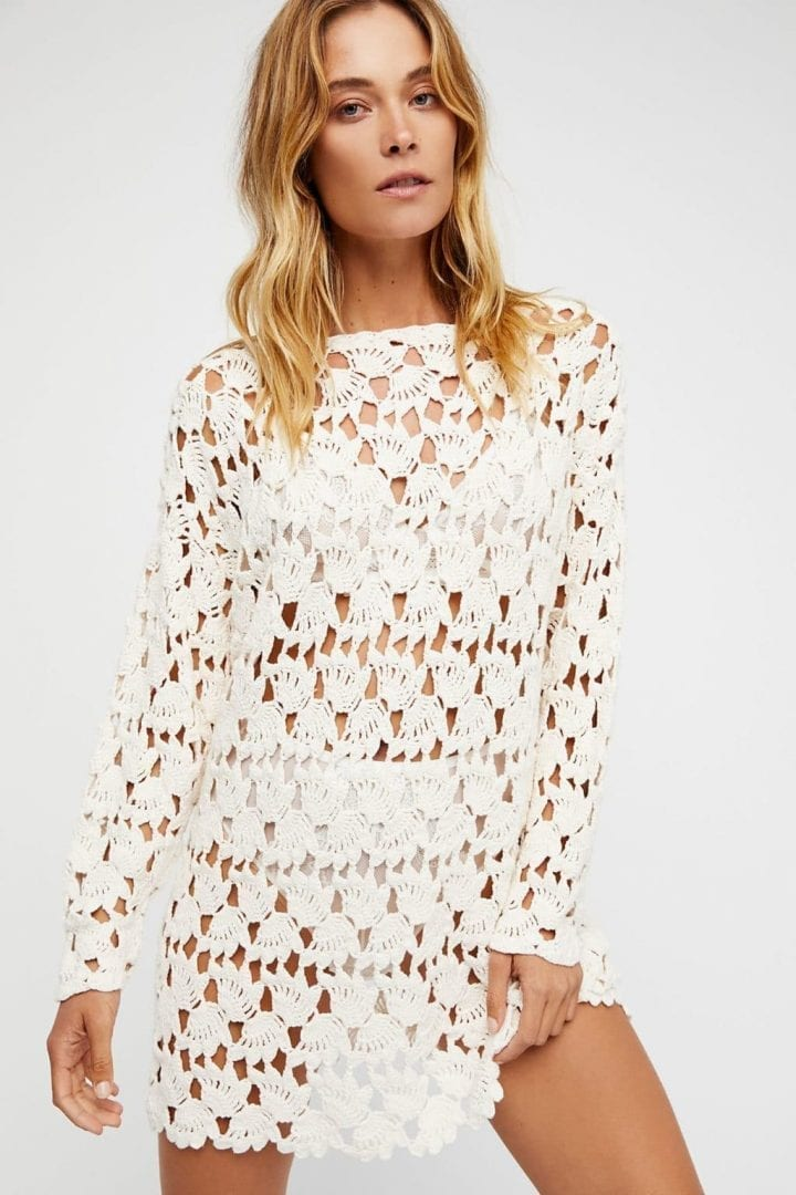 Free People Little Fan Crochet Tunic Cream Dress We Select Dresses
