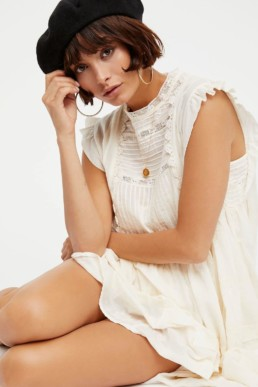 FREE PEOPLE Nobody Like You Embroidered Mini Ivory Dress