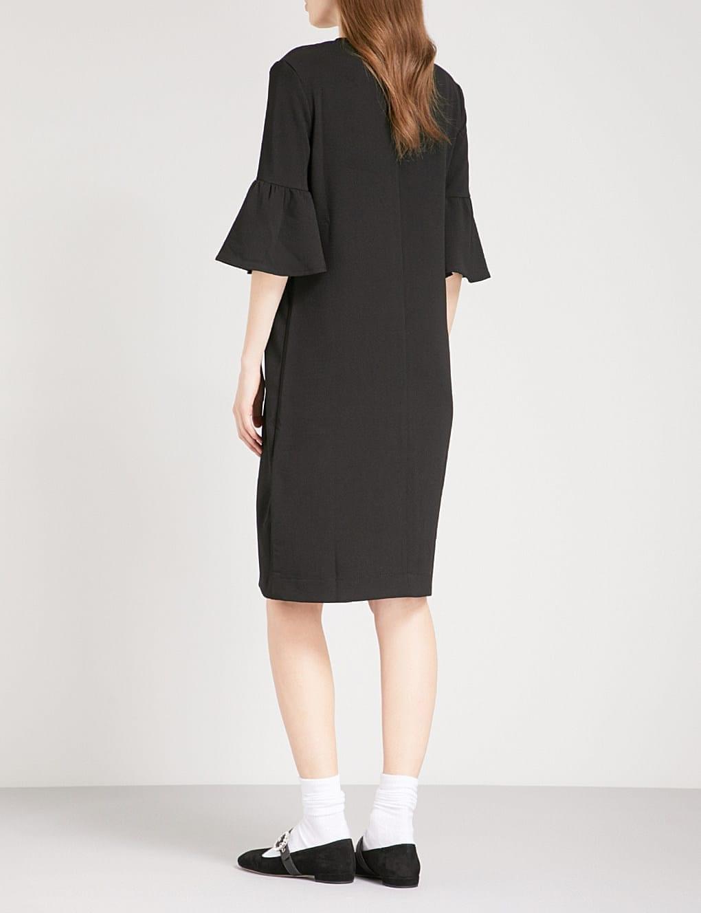 50b304ac8237f GANNI Clark Fluted Crepe Black Dress - We Select Dresses