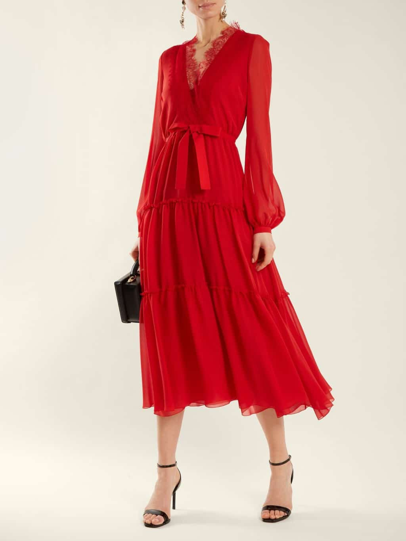 GIAMBATTISTA VALLI V-neck Lace Trimmed Silk Georgette Crimson Red Dress. GIAMBATTISTA  VALLI V-neck Lace Trimmed Silk Georgette Crimson Red Dress e4c14d52e