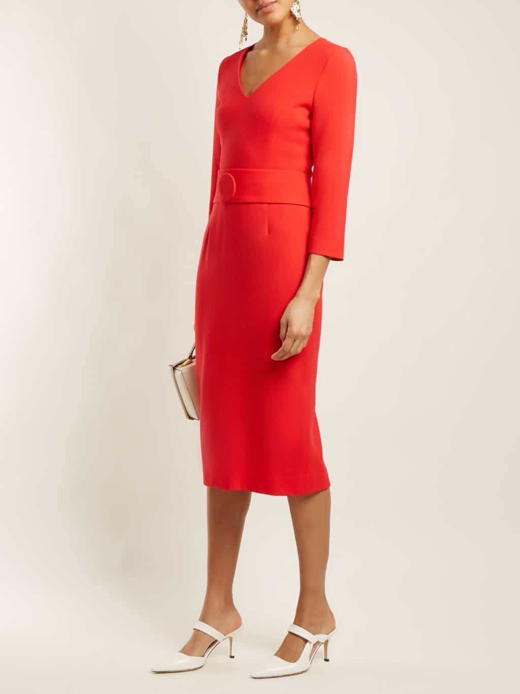 GOAT Fox V-neck Wool Crepe Pencil Cherry Red Dress