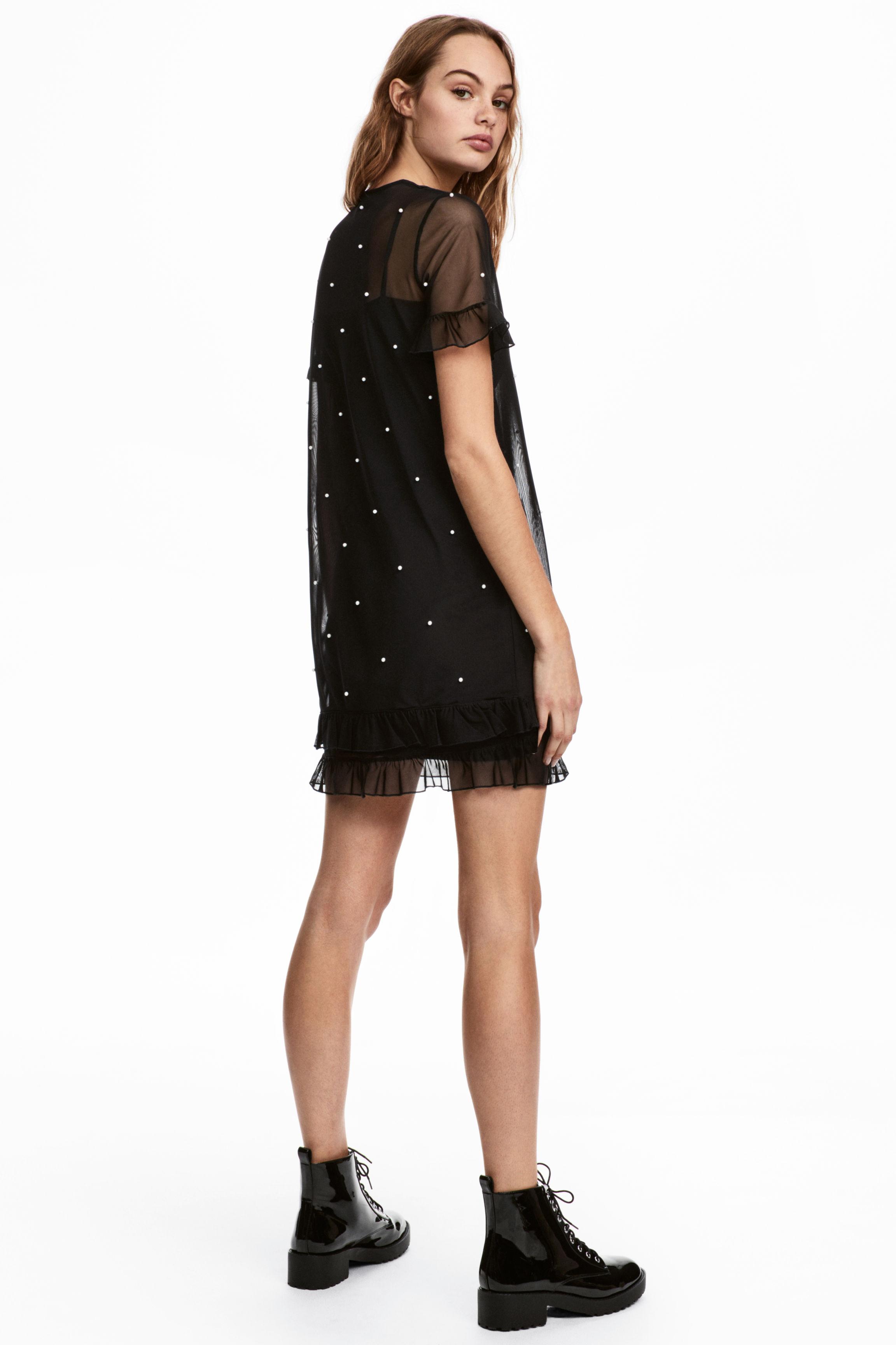 416c3d47ddbd H & M Beads With Mesh Black Dress - We Select Dresses
