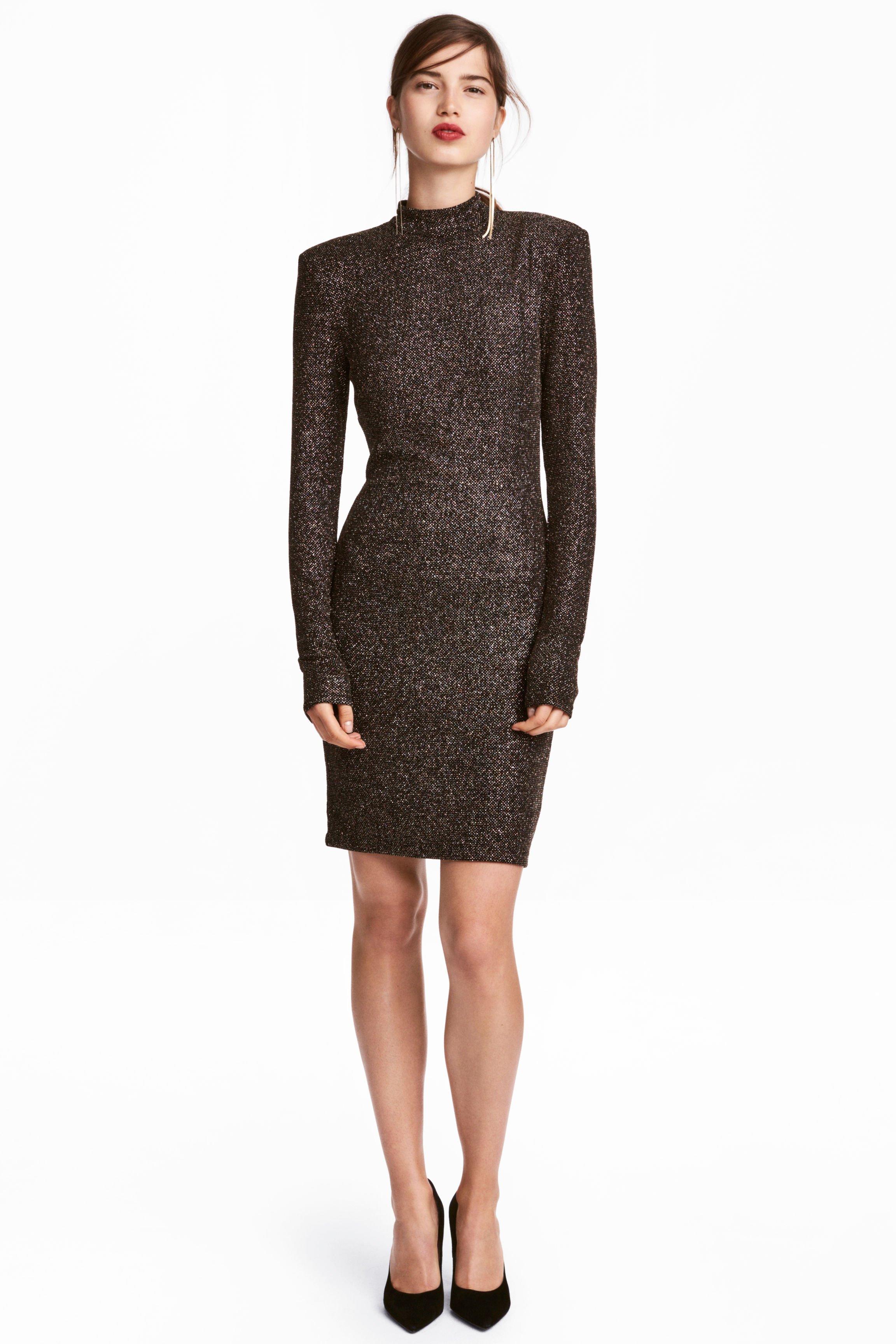 H M Glittery Black Dress