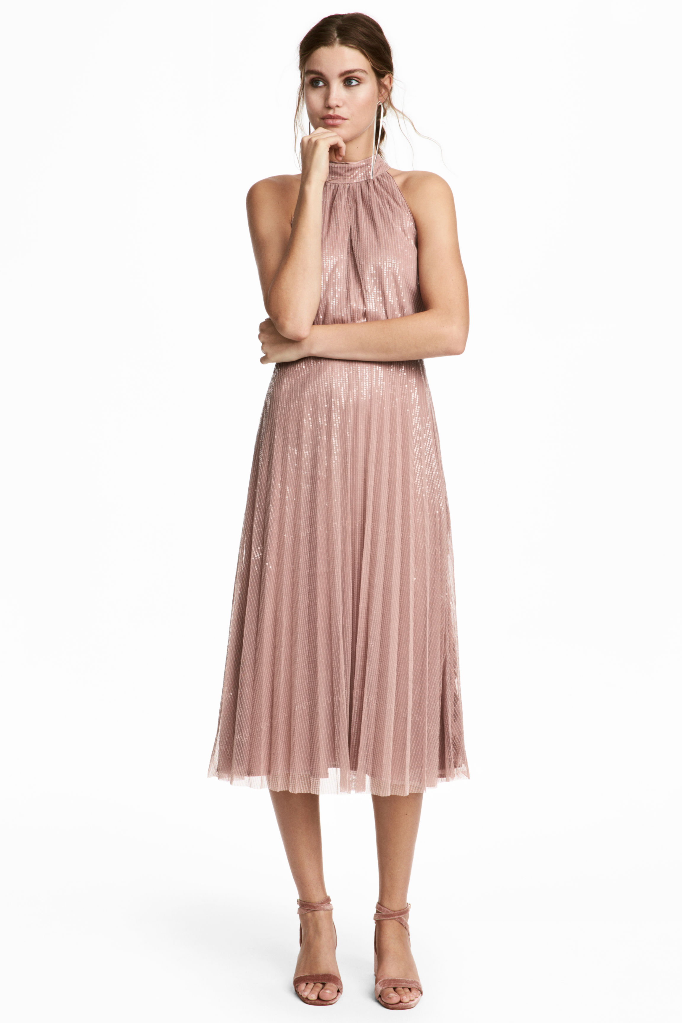 H & M Sequined Dark Powder Pink Dress - We Select Dresses