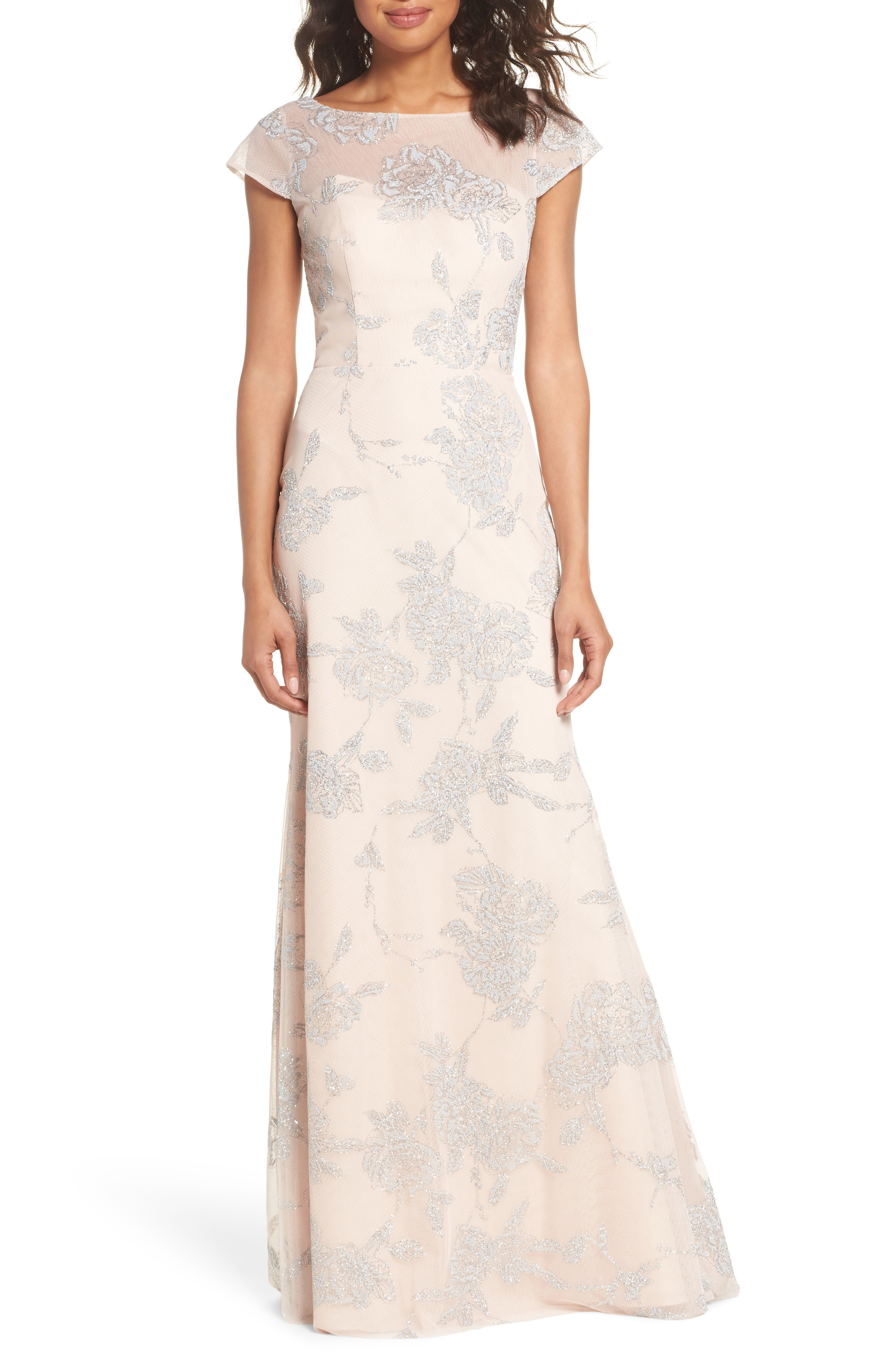 HAYLEY PAIGE OCCASIONS Embellished Bateau Neck Almond Gown