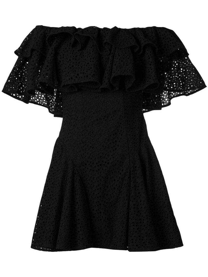 HOUSE OF HOLLAND Anglaise Broderie Off Shoulder Black Dress