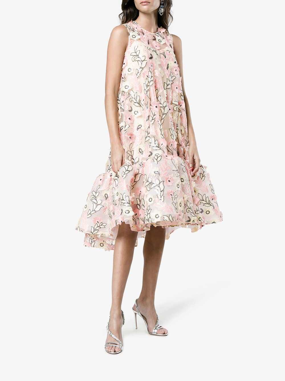 fbe9d5f3abd HUISHAN ZHANG Jodie Floral Embroidered Pink   Multicolored Dress