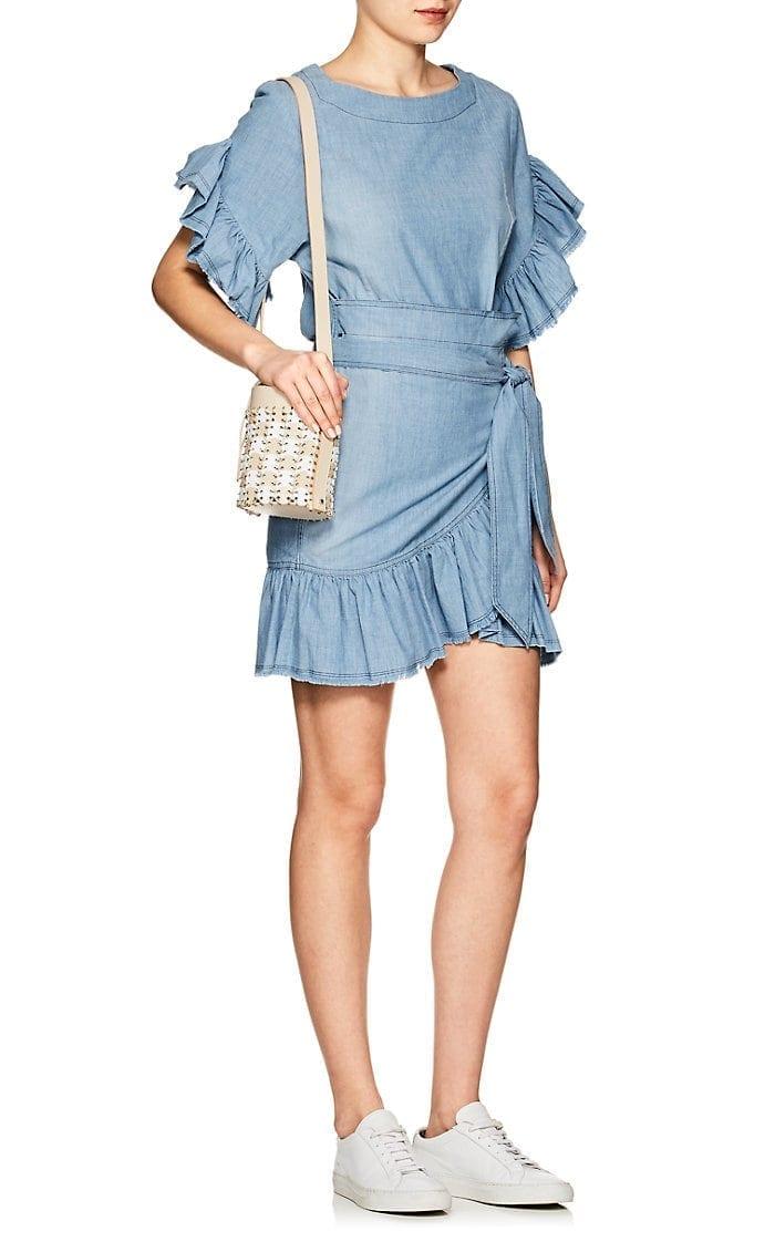 244d5fe5ed7 ISABEL MARANT ÉTOILE Lelicia Chambray Apron-Front Mini Blue Dress ...