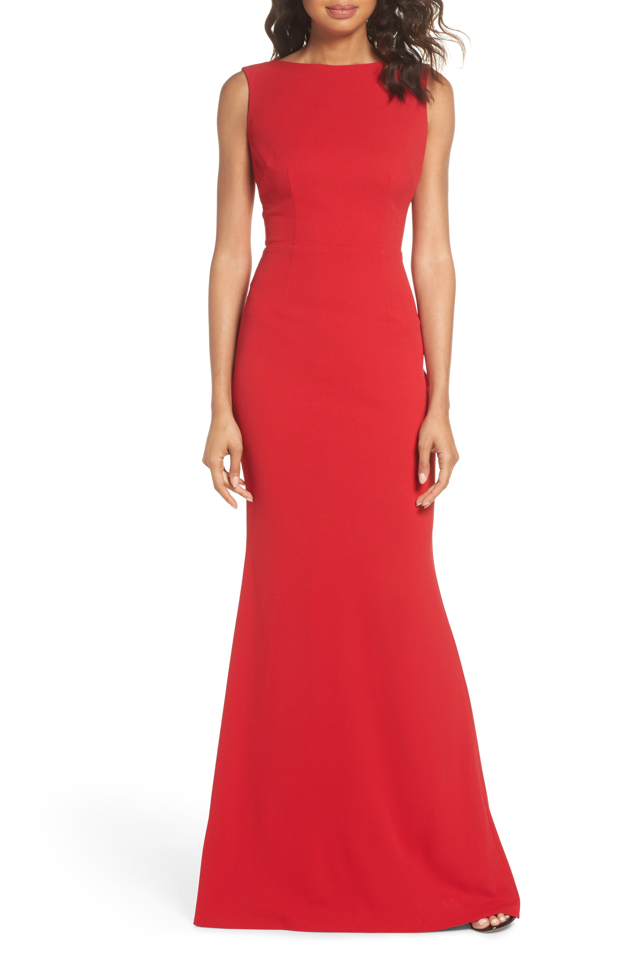 KATIE MAY Drape Back Crepe Red Gown