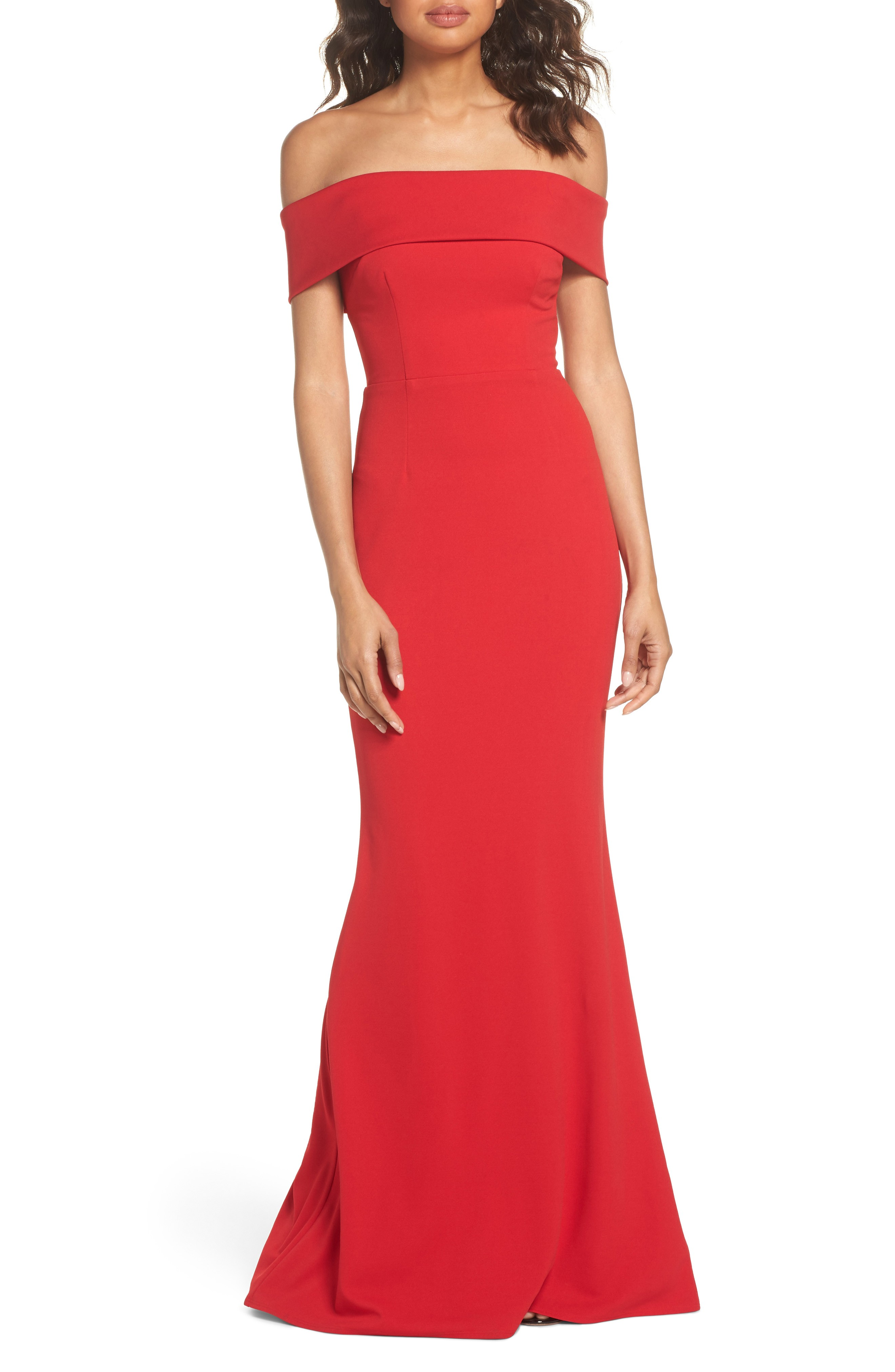 KATIE MAY Legacy Crepe Body-Con Red Gown - We Select Dresses