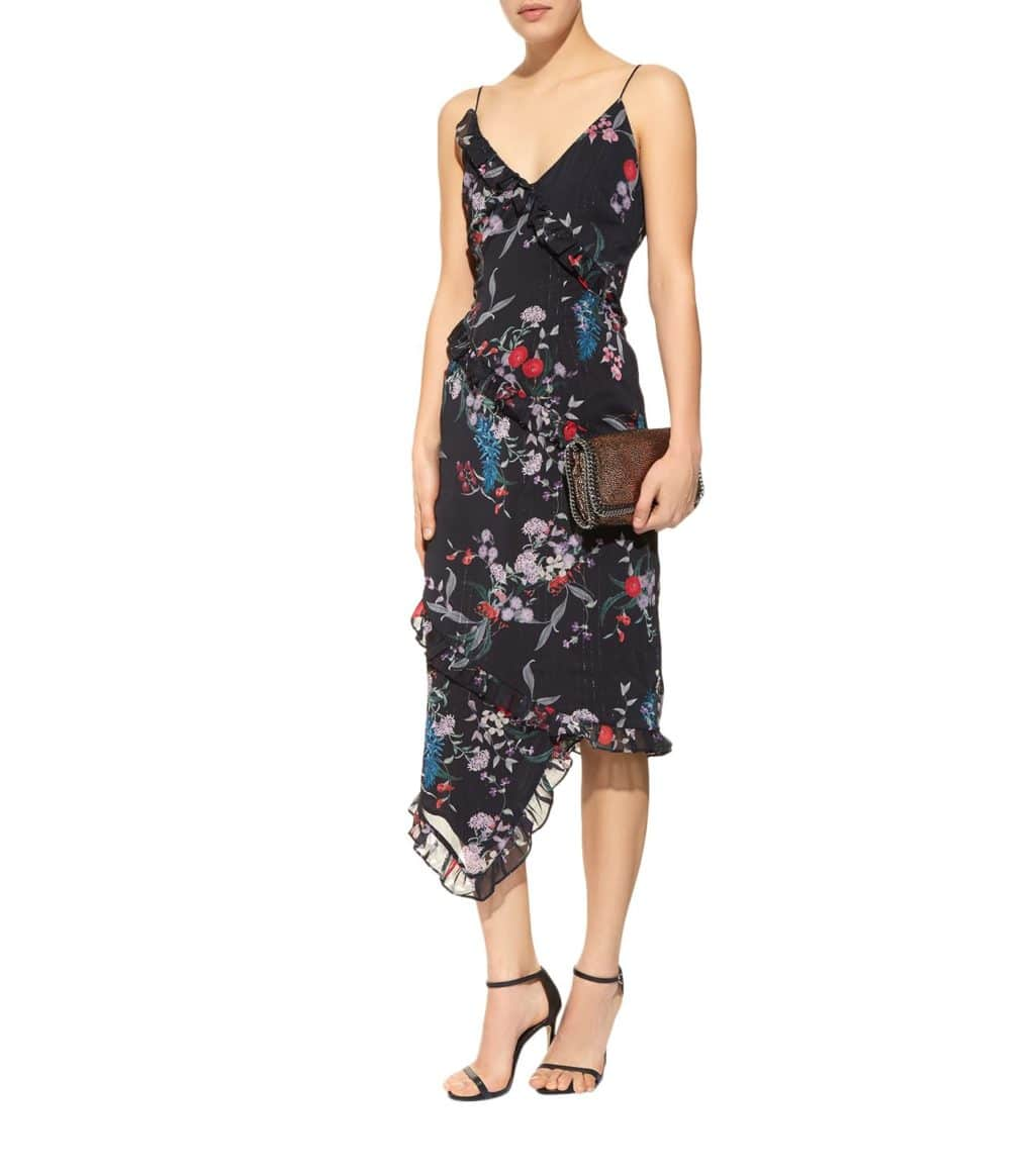 KEEPSAKE THE LABEL Paperthin Floral Midi Black Dress