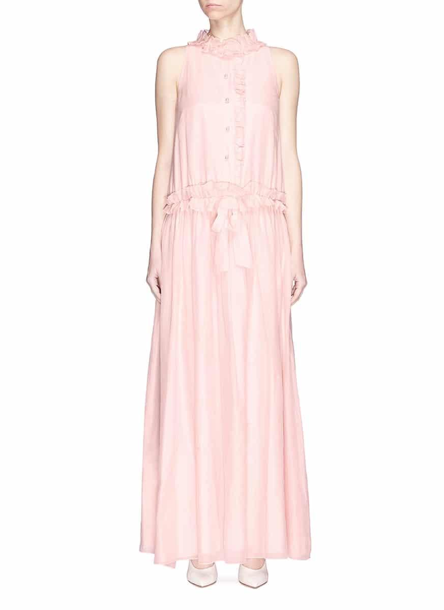 LANVIN Drawstring Ruffle Voile Maxi Light Pink Dress