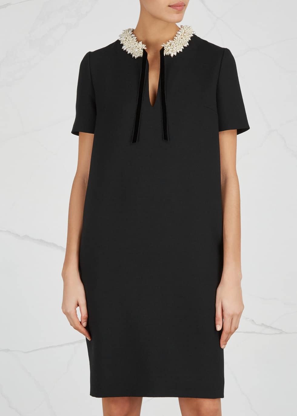 LANVIN Embellished Wool Crepe Black Dress