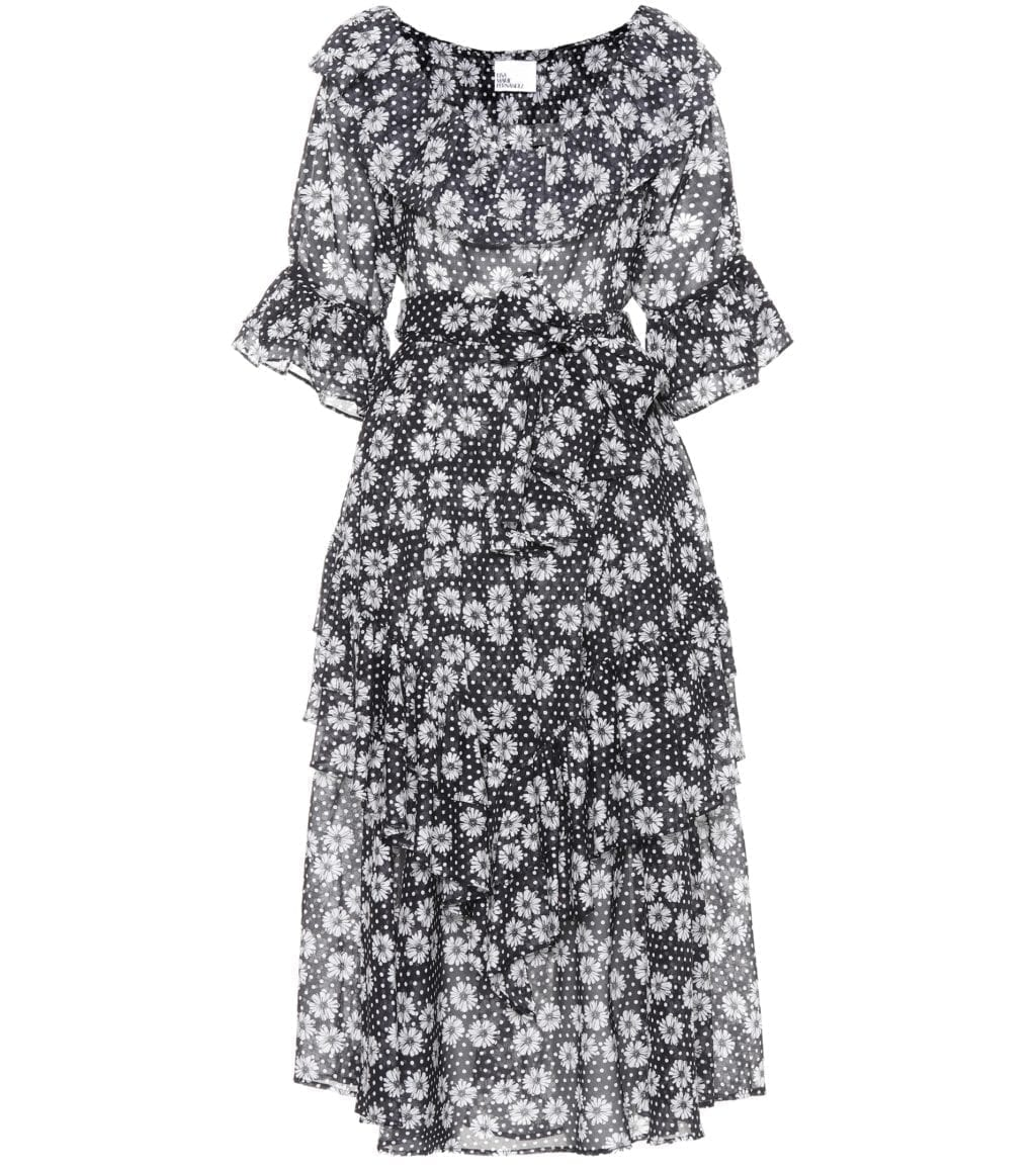 LISA MARIE FERNANDEZ Laura Cotton Black / Floral Printed Dress