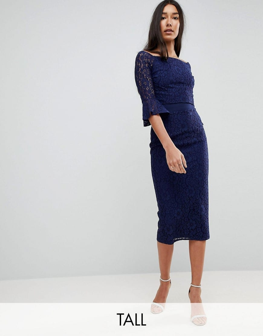 7779daabe85 LITTLE MISTRESS TALL All Over Lace Bardot Fluted Sleeve Detail Midi Navy  Dress