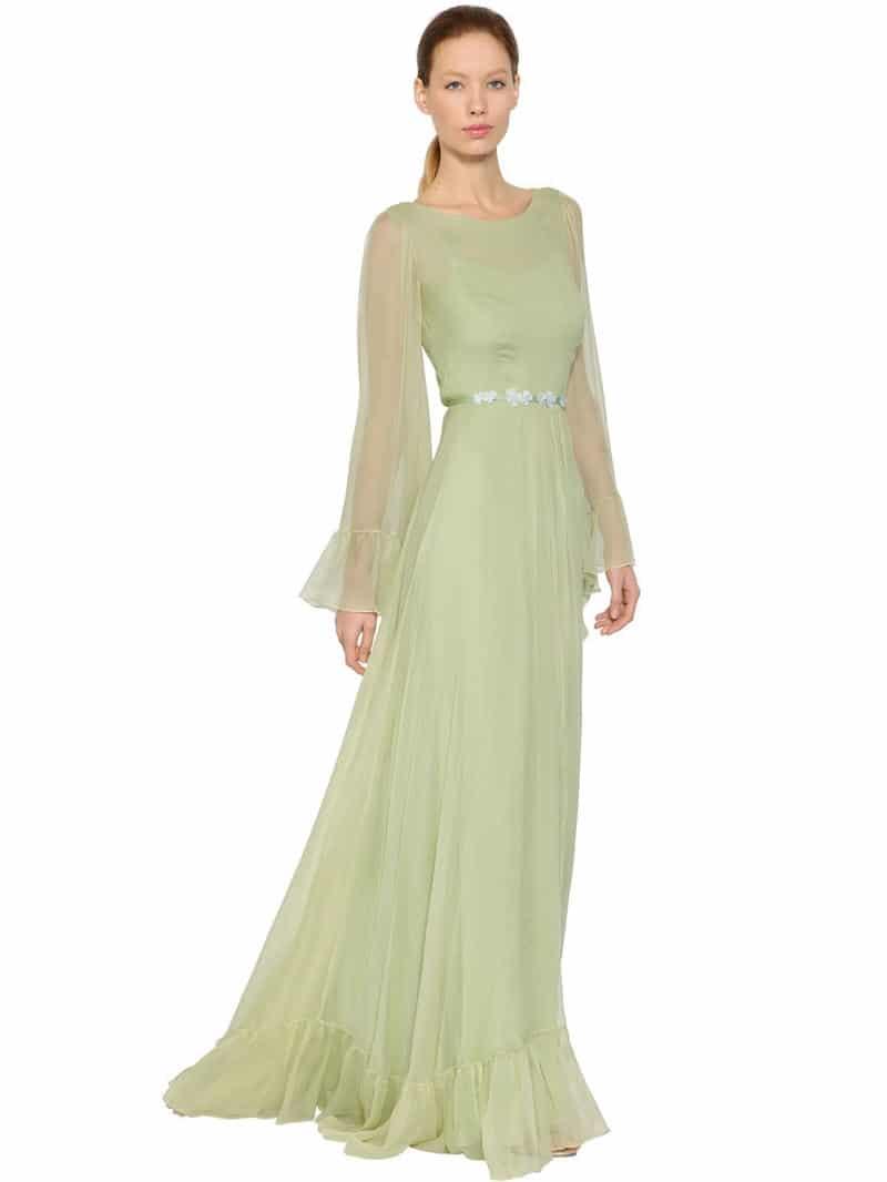 Luisa Beccaria Flower Belt With Silk Crepon Green Dress