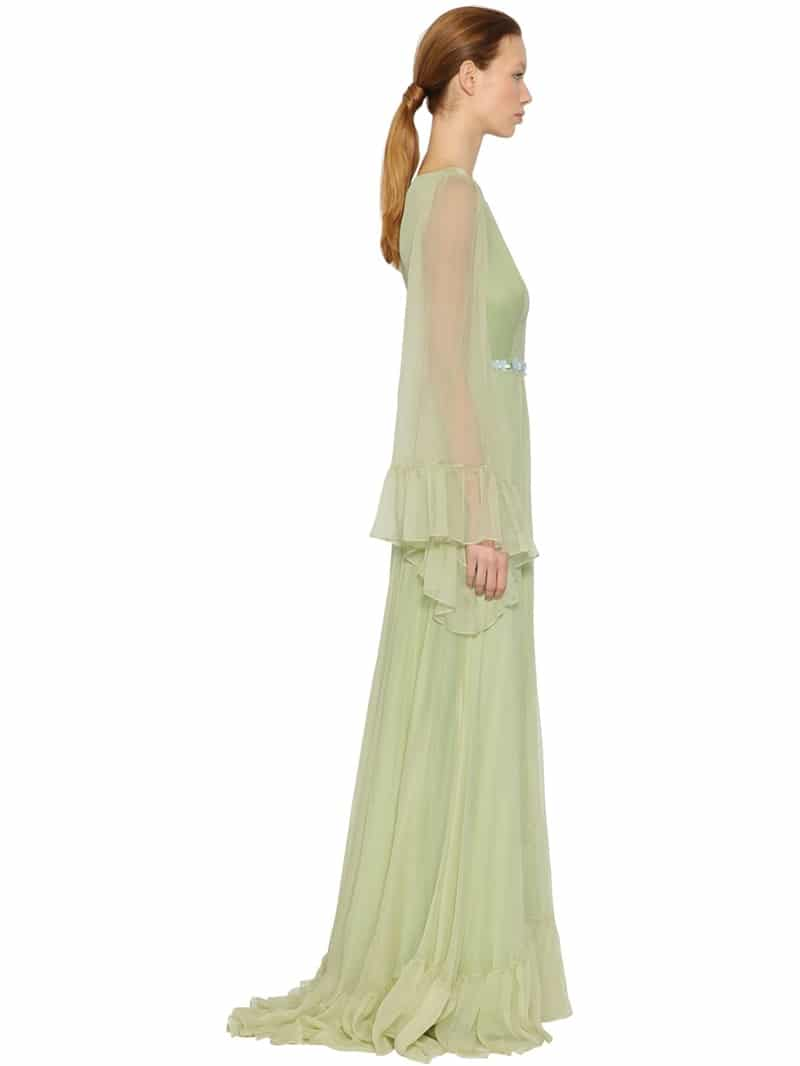 Luisa beccaria flower belt with silk crepon green dress we select luisa beccaria flower belt with silk crepon green dress mightylinksfo