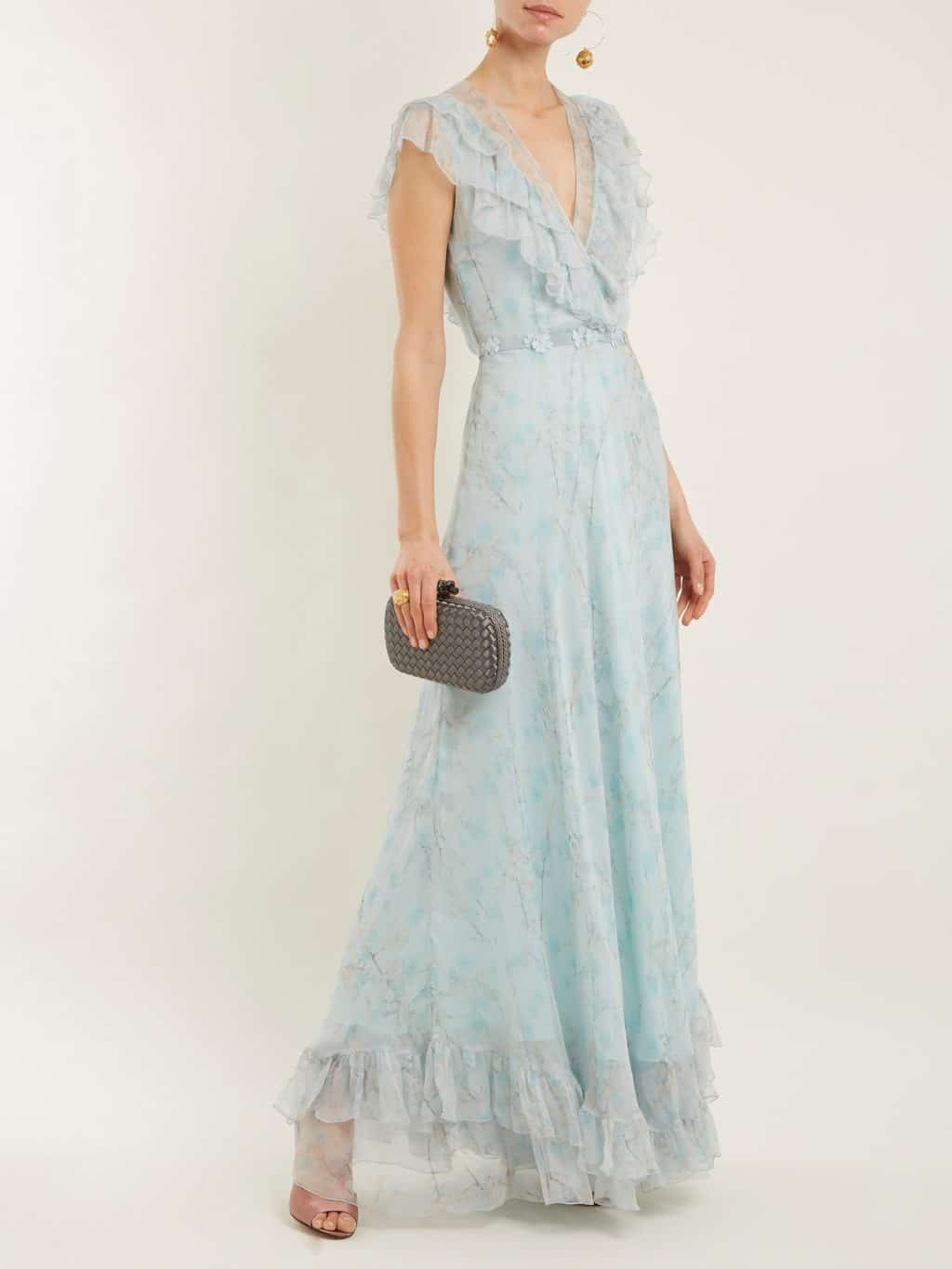 LUISA BECCARIA Silk Chiffon Light Blue / Floral Printed Gown